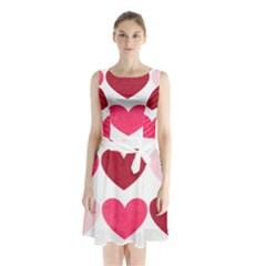 Valentine S Day Hearts Sleeveless Chiffon Waist Tie Dress