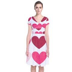 Valentine S Day Hearts Short Sleeve Front Wrap Dress