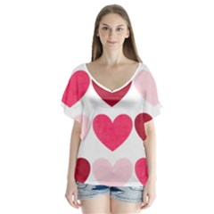 Valentine S Day Hearts Flutter Sleeve Top
