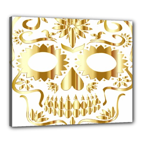 Sugar Skull Bones Calavera Ornate Canvas 24  x 20