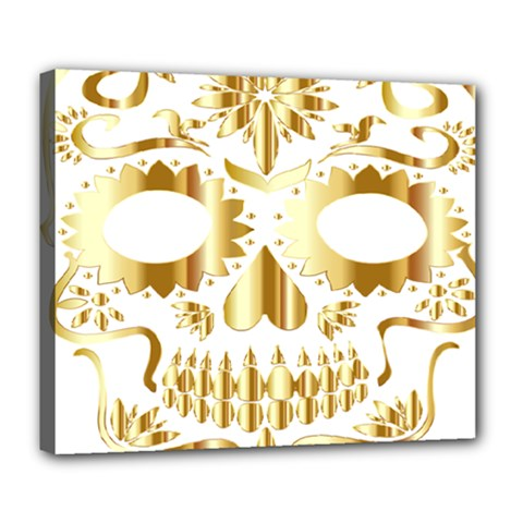 Sugar Skull Bones Calavera Ornate Deluxe Canvas 24  x 20