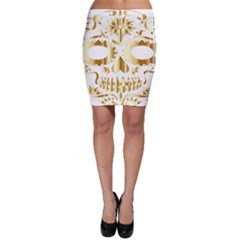 Sugar Skull Bones Calavera Ornate Bodycon Skirt