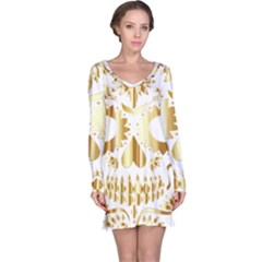 Sugar Skull Bones Calavera Ornate Long Sleeve Nightdress