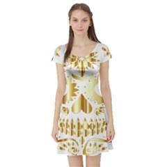 Sugar Skull Bones Calavera Ornate Short Sleeve Skater Dress