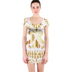 Sugar Skull Bones Calavera Ornate Short Sleeve Bodycon Dress
