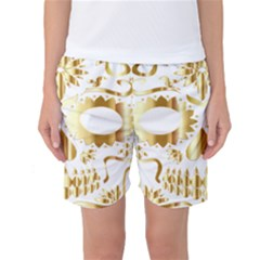 Sugar Skull Bones Calavera Ornate Women s Basketball Shorts