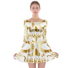 Sugar Skull Bones Calavera Ornate Long Sleeve Skater Dress