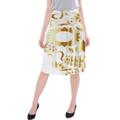 Sugar Skull Bones Calavera Ornate Midi Beach Skirt