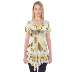 Sugar Skull Bones Calavera Ornate Short Sleeve Tunic