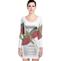 Grasshopper Insect Animal Isolated Long Sleeve Bodycon Dress