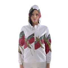 Grasshopper Insect Animal Isolated Hooded Wind Breaker (women)