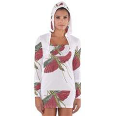 Grasshopper Insect Animal Isolated Women s Long Sleeve Hooded T-shirt