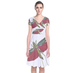 Grasshopper Insect Animal Isolated Short Sleeve Front Wrap Dress