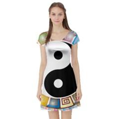 Yin Yang Eastern Asian Philosophy Short Sleeve Skater Dress