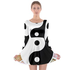 Yin Yang Eastern Asian Philosophy Long Sleeve Skater Dress