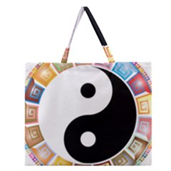 Yin Yang Eastern Asian Philosophy Zipper Large Tote Bag