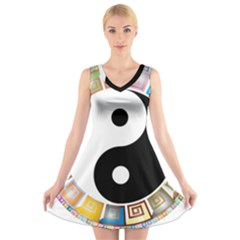 Yin Yang Eastern Asian Philosophy V-Neck Sleeveless Skater Dress