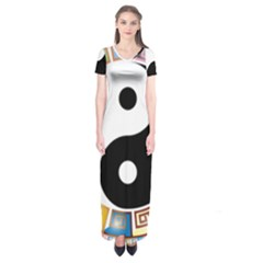 Yin Yang Eastern Asian Philosophy Short Sleeve Maxi Dress