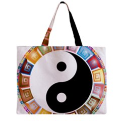Yin Yang Eastern Asian Philosophy Medium Zipper Tote Bag