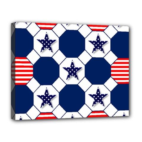 Patriotic Symbolic Red White Blue Canvas 14  X 11