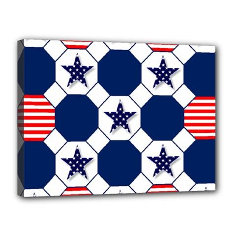 Patriotic Symbolic Red White Blue Canvas 16  x 12