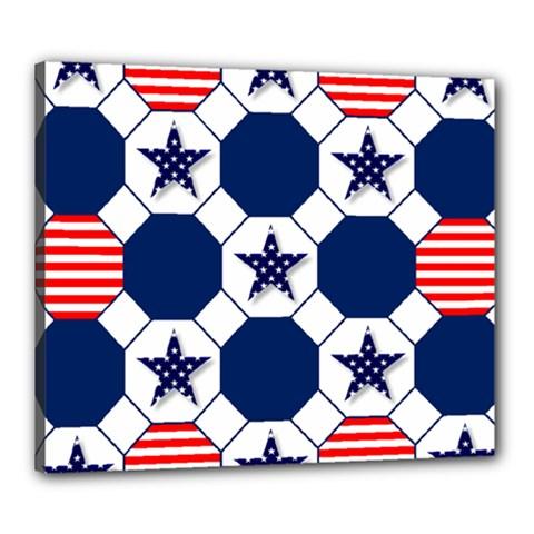 Patriotic Symbolic Red White Blue Canvas 24  X 20