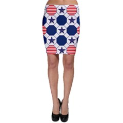 Patriotic Symbolic Red White Blue Bodycon Skirt