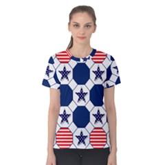 Patriotic Symbolic Red White Blue Women s Cotton Tee