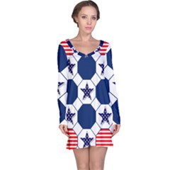 Patriotic Symbolic Red White Blue Long Sleeve Nightdress