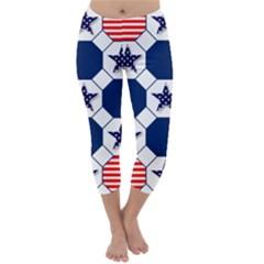 Patriotic Symbolic Red White Blue Capri Winter Leggings