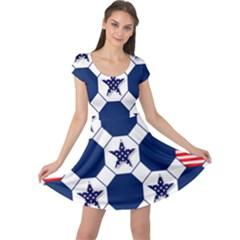 Patriotic Symbolic Red White Blue Cap Sleeve Dresses