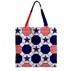 Patriotic Symbolic Red White Blue Zipper Grocery Tote Bag