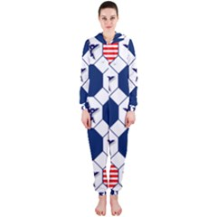 Patriotic Symbolic Red White Blue Hooded Jumpsuit (ladies)