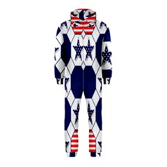 Patriotic Symbolic Red White Blue Hooded Jumpsuit (Kids)