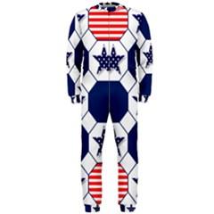Patriotic Symbolic Red White Blue OnePiece Jumpsuit (Men)