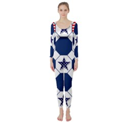 Patriotic Symbolic Red White Blue Long Sleeve Catsuit
