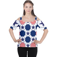 Patriotic Symbolic Red White Blue Women s Cutout Shoulder Tee