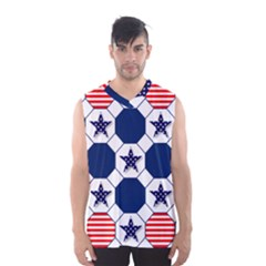 Patriotic Symbolic Red White Blue Men s Basketball Tank Top