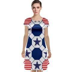Patriotic Symbolic Red White Blue Cap Sleeve Nightdress