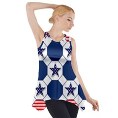 Patriotic Symbolic Red White Blue Side Drop Tank Tunic