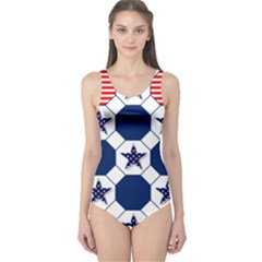 Patriotic Symbolic Red White Blue One Piece Swimsuit