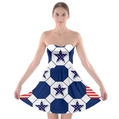 Patriotic Symbolic Red White Blue Strapless Bra Top Dress
