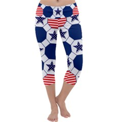 Patriotic Symbolic Red White Blue Capri Yoga Leggings