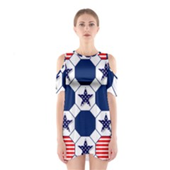 Patriotic Symbolic Red White Blue Shoulder Cutout One Piece