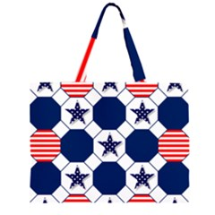 Patriotic Symbolic Red White Blue Large Tote Bag