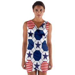 Patriotic Symbolic Red White Blue Wrap Front Bodycon Dress