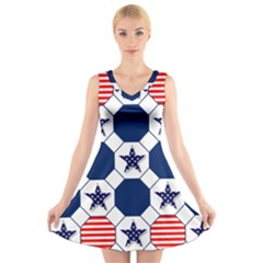 Patriotic Symbolic Red White Blue V Neck Sleeveless Skater Dress