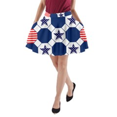 Patriotic Symbolic Red White Blue A-Line Pocket Skirt