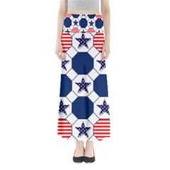 Patriotic Symbolic Red White Blue Maxi Skirts