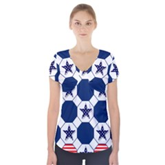 Patriotic Symbolic Red White Blue Short Sleeve Front Detail Top